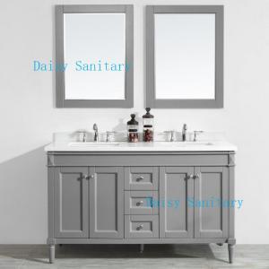 Popular Grey Color 60 Inch Marble Top Bathroom Vanity Copper Free Mirror Manufactures