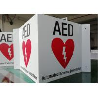 3 WAY AED ID Custom Printed Aluminum Signs 14X6X0.04 Wall Mounted Durable Manufactures
