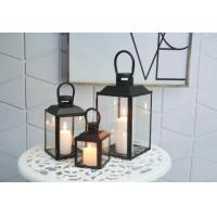 Home Decoration Tabletop Candle Holder Metal Lantern with Battery Operated LED Candle Manufactures