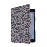 Custom Flip synthetic leather skin sleeve case fold stand for ipad 5, black leopard print Manufactures