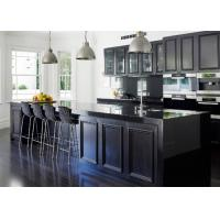 European Pvc Kitchen Cabinets Waterproof Kitchen Units Black Color With Island Bench Manufactures