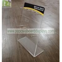 China Counter Lighter POS Clear Acrylic Brochure Holder Durable With Metal Hooks on sale
