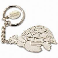 Quality Silver Balder Keychains with Small Tag with Laser-Engraved Logo, Made of Iron for sale