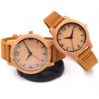 OEM Couple bamboo watch  genuine leather strap quartz wrist watch bamboo watches Manufactures