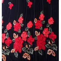 chinese red rose velvet satin embroidery lace fabric for wedding dress Manufactures