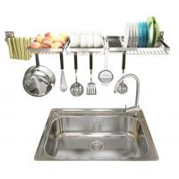 Chrome Home Storage Wall Mounted Kitchen Rack 2 Layers With Hook Organizer Manufactures