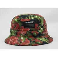Flower Printed Fishing Bucket Hat Cotton With Woven Patch Washing Label Manufactures