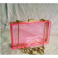 Red Retangle Woman Acrylic Box Clutch Bag for Wedding Party Manufactures