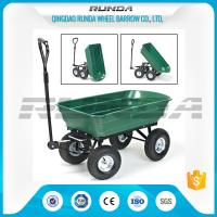 Green Color Garden Dump Wagon Plastic Material Tray Load Capacity 150kg Manufactures