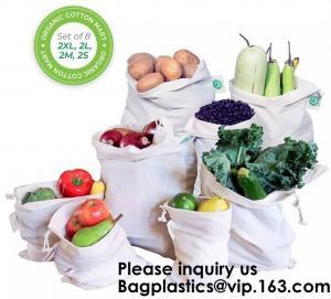 China Custom Personalised Logo Vegetable & Fruits Reusable Mesh Cotton Bags Pure Cotton 100% Organic Mesh Net Muslin Cotton Ba on sale