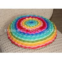 Round Colorful Rainbow Multi - Layer Blooming Rose Chair Cushion Covers For Leaning On Manufactures