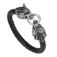 Hot Sales PU Leather Stainless Steel Double Wolf Heads Bracelet Manufactures
