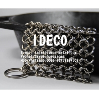 China Chainmail Scrubbers, Chain Mail Small Ring Cast Iron Cleaner, Dutch Ovens Waffle Iron Pans Ring Mesh Scraper on sale