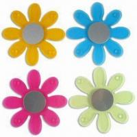 Acrylic Coaster with Flower Design, Comes in Blue, Orange, Pink and Green Manufactures