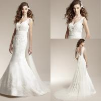 China V-neck Satin Wedding Dresses for Ladies , Ruffled Bridal Dresses on sale