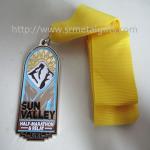 Metal Marathon relay medal with ribbon, epoxy hollow Marathon race medallions, Manufactures