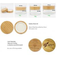 Luxury 5g 10g 15g 30g 50g 60g 100g CBD cosmetic glass cream bamboo container jar with wooden cap Manufactures