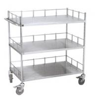 Hospital Stainless Steel Carts On Wheels , Metal Trolley With Shelves And Siderail Manufactures