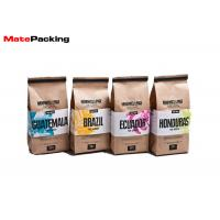Food Grade Heat Seal Stand Up Coffee Pouches , Packaging Tin Tie Brown Paper Coffee Bags Manufactures