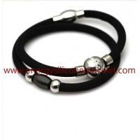 Silicone+Elastic Fibre Fashion Jewelry Design Health Power Balance Silicone Bracelet Manufactures