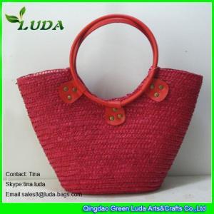 China LUDA red handbag straw beach bag wheat straw resuable shopping bags on sale