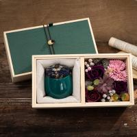 Decoration Home Scented Candles Luxury Ceramic Marble Candle Jars With Wooden Gift Box Manufactures