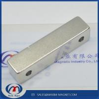 Large block Neodymium magnets with two countersunk holes Manufactures