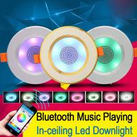 App Control Bluetooth Music Light Bulb 2 In 1  In Ceiling Speaker With Led Down Light Lamps