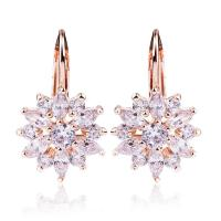 Rose Gold Color Flower Cubic Zirconia Stud Earrings With Sparkling Stones For Women