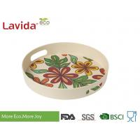 Dishwasher Safe Bamboo Fiber Big Round Serving Tray With Christmas Pattern Manufactures