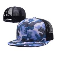 100% Polyester Camo Flat Brim Trucker Hat , Unisex Fitted 5 Panel Hat With Plastic Buckle Manufactures