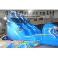long wave slide inflatable wet & dry slide with pool,pool can removed ,double wave slide