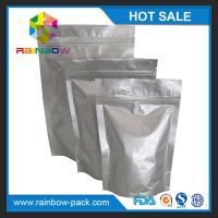 China Eco-friendly Silver Aluminium Foil Pouch Ziplock Stand Up Gravure Printing on sale