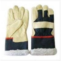 China Personalised Cold Resistant Leather Protective Hand Gloves With Color Cotton Back on sale