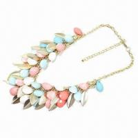 Spring/Summer Necklace, Fashionable Jewelry, Acrylic Jewelry with Metal Leaf Manufactures