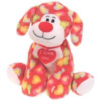 Custom Stuffed Animal Dogs With Red Heart , Fashion Small Plush Dog Manufactures
