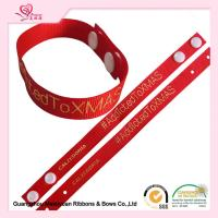 "China 6/8"" Red Grossgrain Ribbon , Custom Printed Grosgrain Ribbon With Hot Stamping Logo For Apparel Hangtag wholesale"