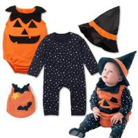 Unisex Cute Newborn Baby Clothes Halloween Playsuit 3 Sets Pumpkin Rompers for sale