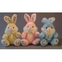 Long Hair Plush Easter Bunnies Small Stuffed Toys , Yellow / Pink / Blue Manufactures
