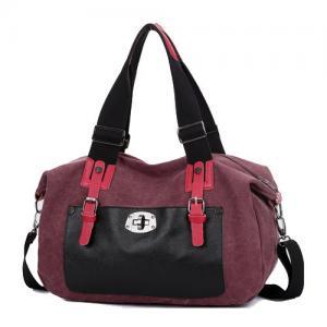 China Fashion Woman Lady Classic Canvas leather Tote Bag wholesale bolsas femininas bolsas cloe on sale