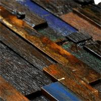 Mixed Color Wood Mosaic Wall Panels , Old Boat Acoustic Wood Wall Panel Manufactures