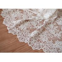 Retro Embroidery Ivory Bridal Lace Fabric / Stretch Tulle Fabric For Wedding Dresses Manufactures