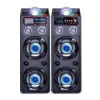 Dual 10 Inch Portable PA Speaker System Bluetooth Disco Light Speaker For Party Manufactures