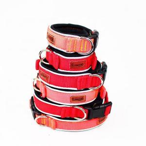 China C601 Wholesale Adjustable Custom Print LOGO Soft Reflective Tape Padded Nylon Webbing Pet Dog Collar on sale
