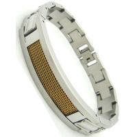 Stamping crafts12mm width Stainless Steel Bracelet with IP gold steel wire mesh Manufactures