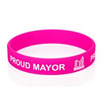 Text Silk Screen Imprinted Promotional Custom Silicone Rubber Wristbands Manufactures