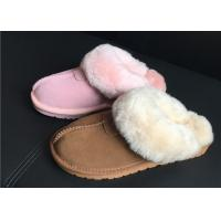 100% Sheepskin Slippers Ladies Shoes Chestnut EVA Soft Sole Suede Leather Slipper Manufactures