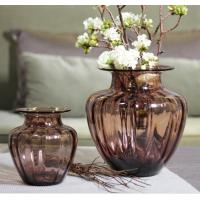 Mouth Blown Decorative Glass Flower Vases / Hand Wash Three Size Pink Glass Vase Manufactures