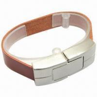 Popular Leather Bracelet USB Flash Drive, 128MB to 500GB Capacity Manufactures