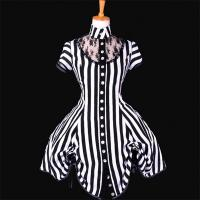 Medieval Dress Wholesale XXS to XXXL Custom Made Black and White Stripe Ball Gown Medieval Victorian Dress Manufactures